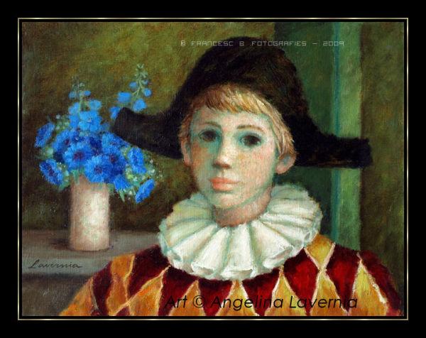 Arlequin au bouquert bleu.