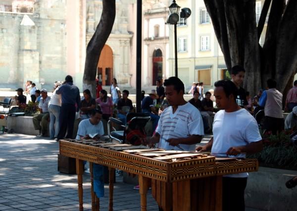 en la zócalo de Oaxaca