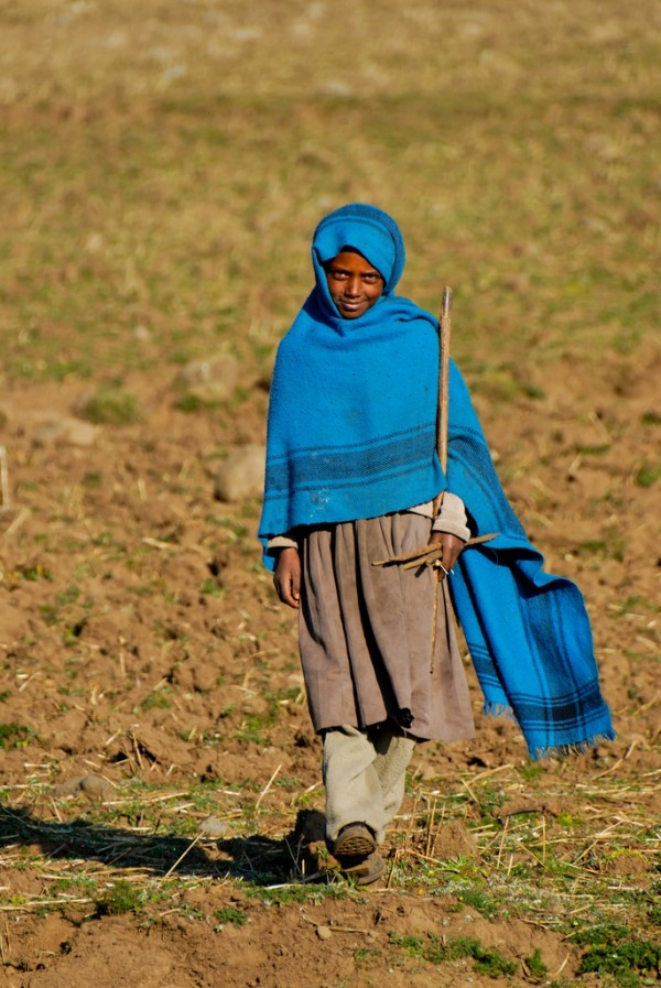 Shepherd girl in Ankober, Ethiopia