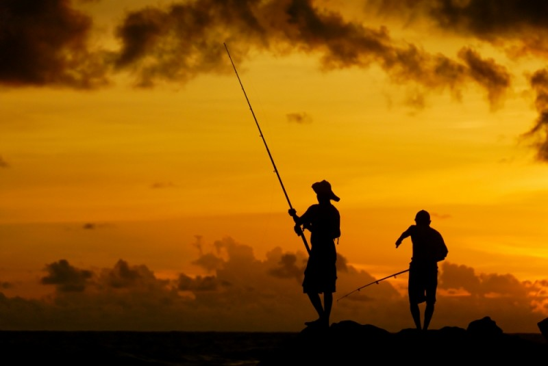 Fishermen at sunset, Colombo, Sri Lanka