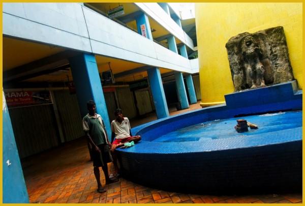 Courtyard in Pettah fish market, Colombo Sri Lanka