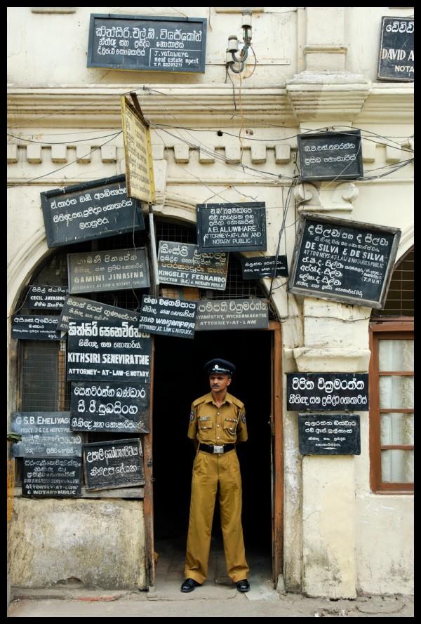 Policeman in Kandy, Sri Lanka