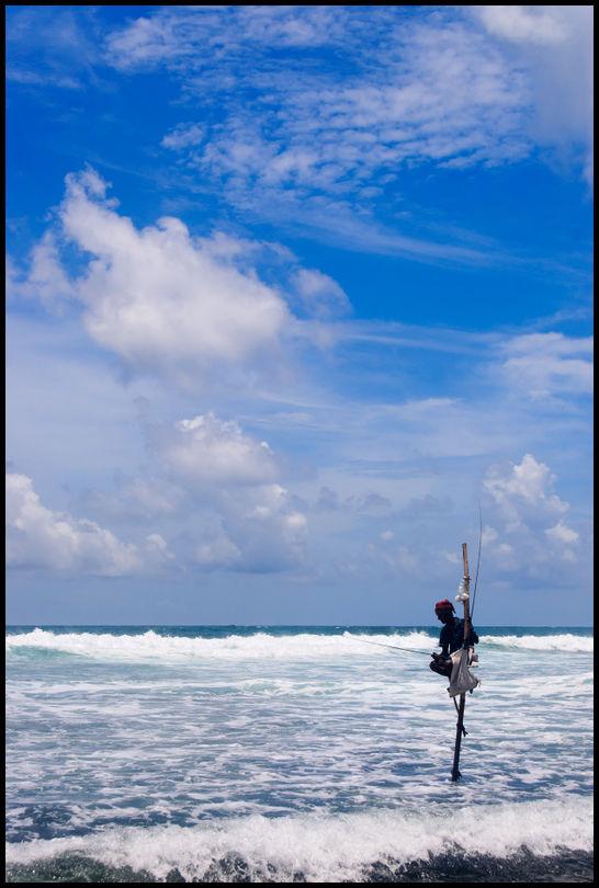 Still fishermen on Koggala shore, Sri Lanka