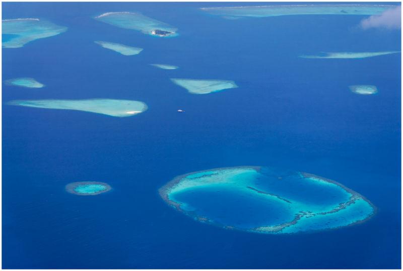 Aerial-view of an atoll, Maldives