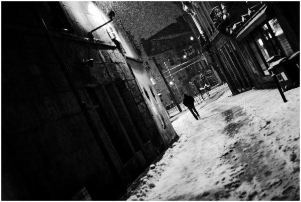 Empty street in Saint-Etienne, France, winter time