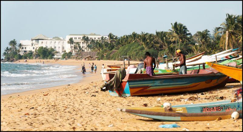 Fishermen on Mount Lavinia beach, Sri Lanka