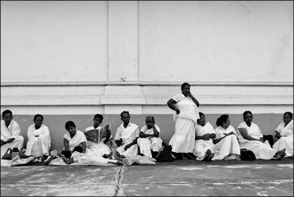 Buddhist people at Kalutara temple, Sri Lanka