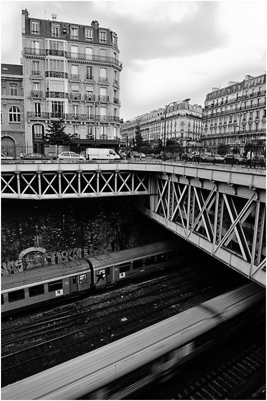 Railway at Rome tube station, Paris, France