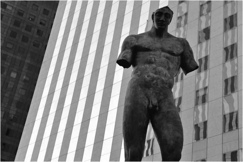 Statue in La Defense area, Paris, France