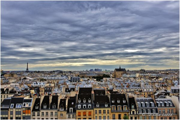Paris skyline from Beaubourg, France.