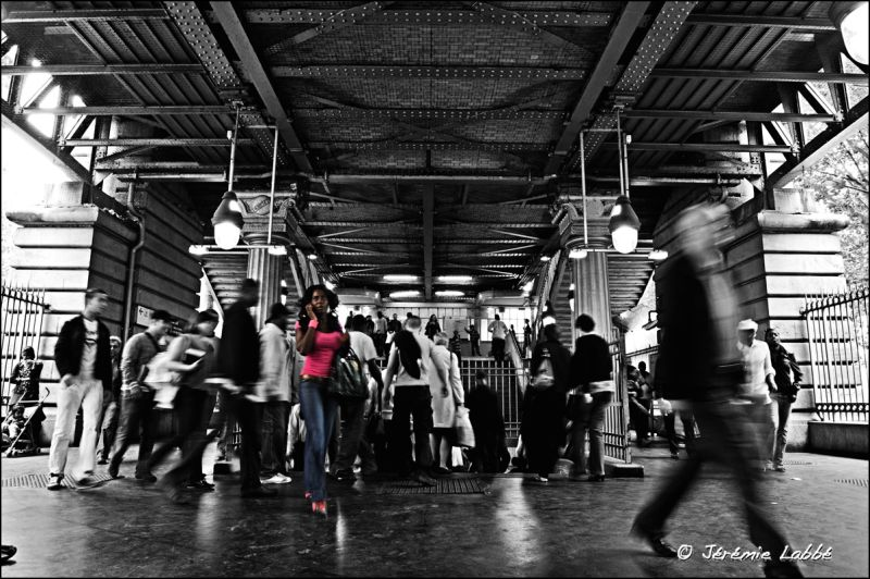 Crowd at La Chapelle tube station, Paris, France