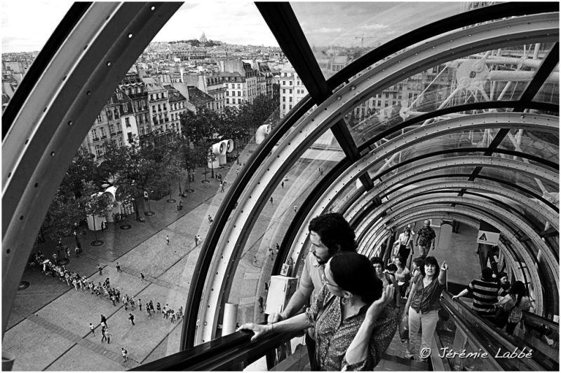 Escalator in Centre George Pompidou Paris France
