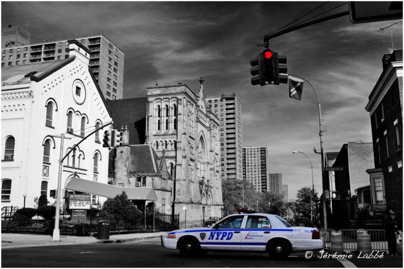 NYPD car on Lafayette Avenue, Brooklyn, USA