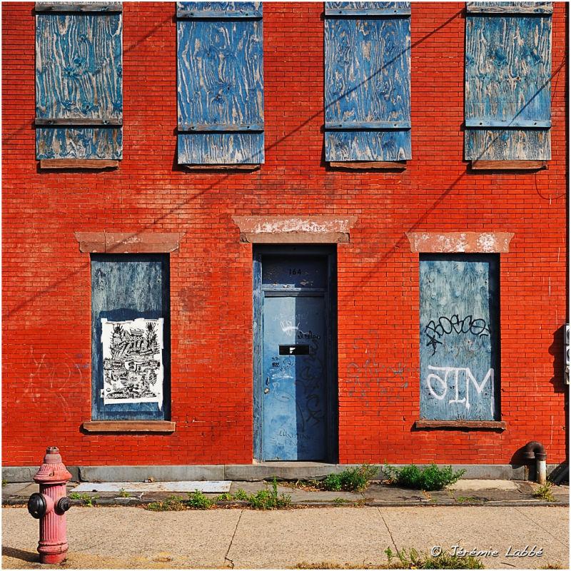 House's façade of Red Hook neighbourhood, Brooklyn