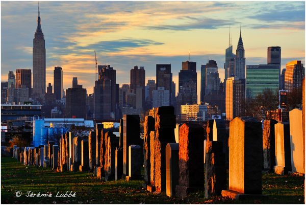 Calvary Cemetery with Manhattan skyline, New York