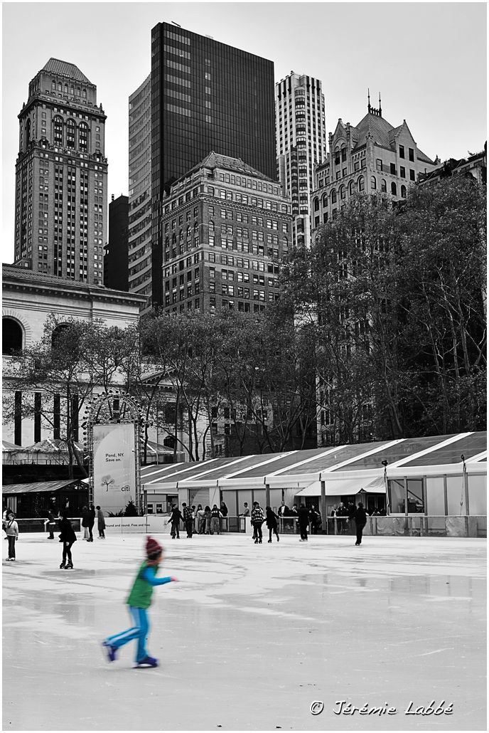 Ice-skating rink on Bryant Park, Manhattan