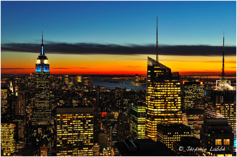 Sunset over Manhattan skyline, New York