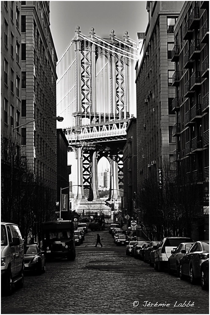 Street in Dumbo, Brooklyn, with Manhattan Bridge
