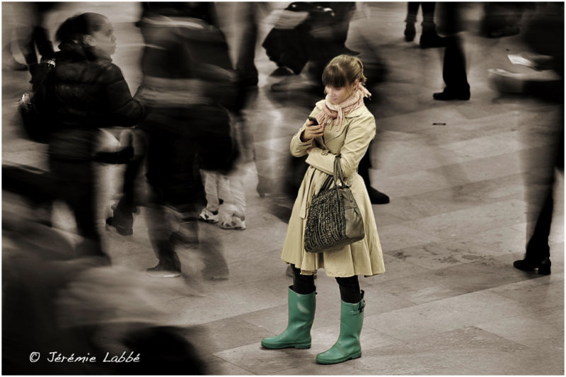 Girl in the crowd of Grand Central, New York