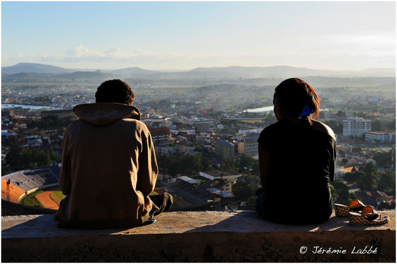Young lovers overlooking Antananarivo, Madagascar