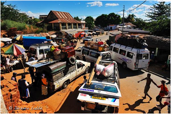 Bus stop in Maevatanana, Madagascar