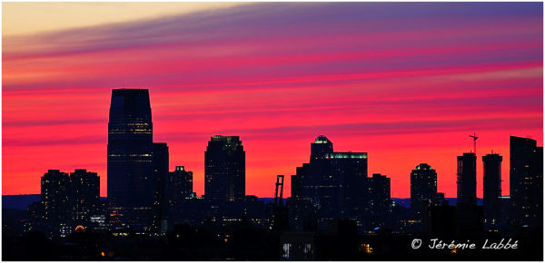New Jersey City skyline after sunset, New York