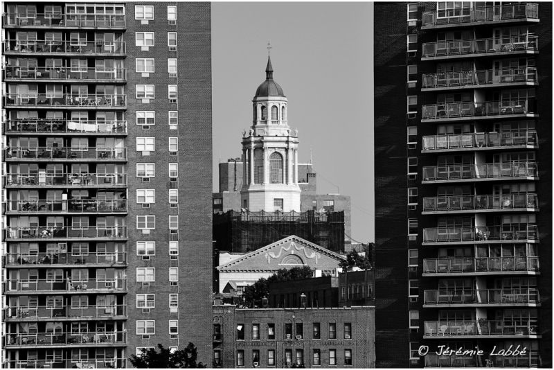 Church squeezed between two buildings, New York