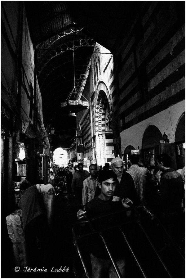 Bustling street of Damascus souks, Syria