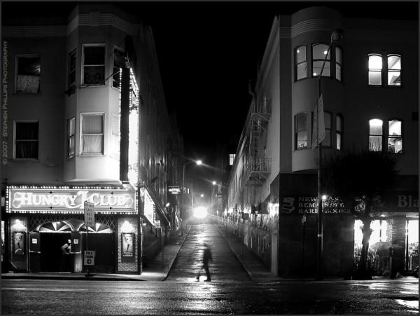 Broadway in San Francisco at night