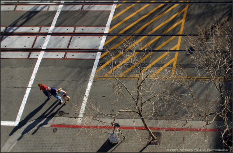 three pedestrians in an abstract act