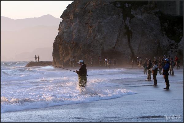 surf casting at ocean beach