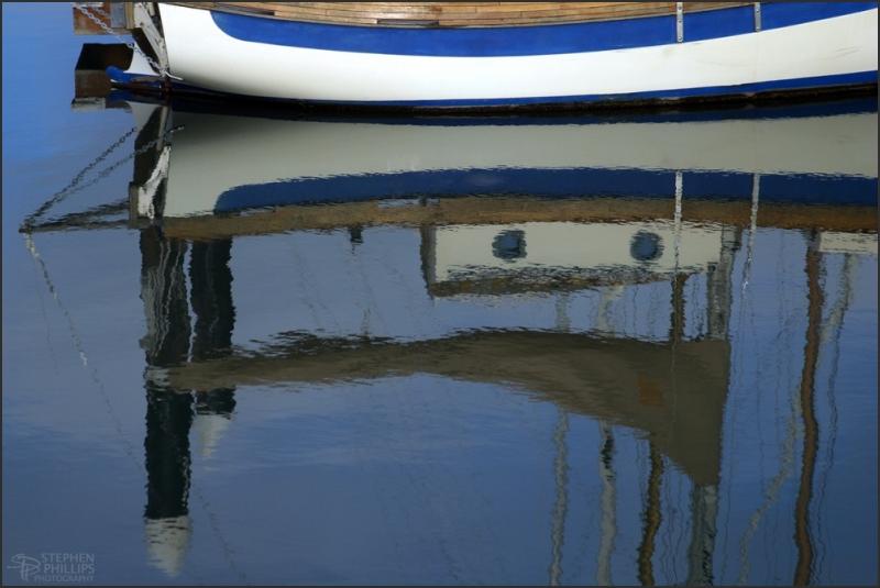 a small blue boat