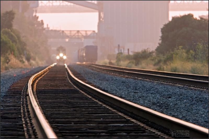Train through the Carquinez Strait on a smokey day