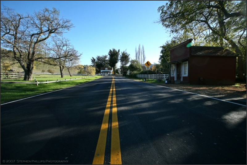 Road through the town of Nicasio, California