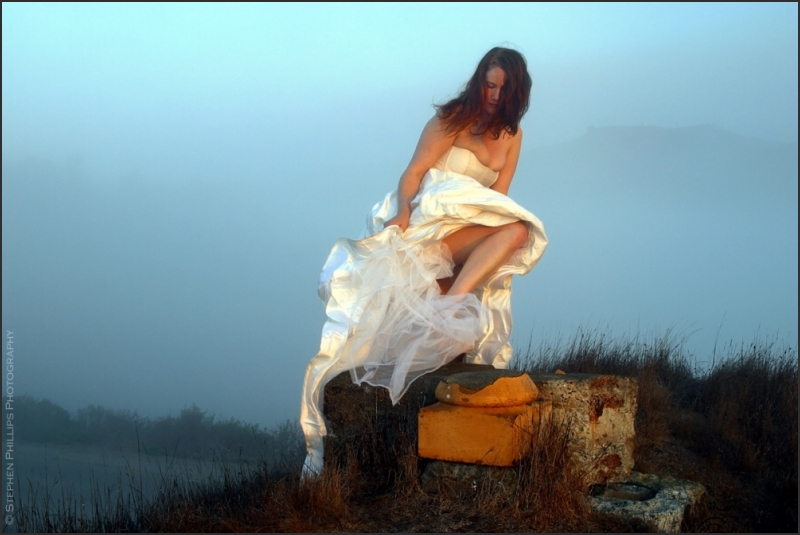 Carolyn Hurley in the wedding gown at sunrise