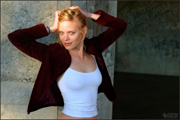model Molly Klaproth in Maroon Jacket