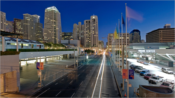 Moscone Convention center in the pre-dawn