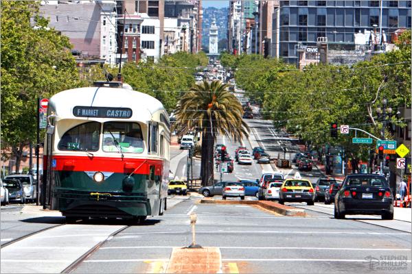 sunny Upper Market Street in San Francisco