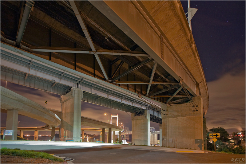 Freeway interchange at Crockett, Califpornia night