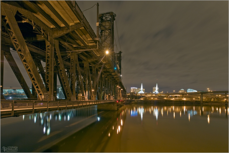 Steel Bridge at Night Portland Oregon