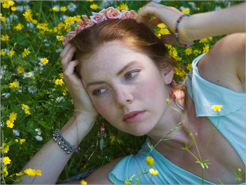 Floral Encounter model in a field of wildflowers