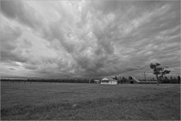 A Cascade Mountains farm before a storm