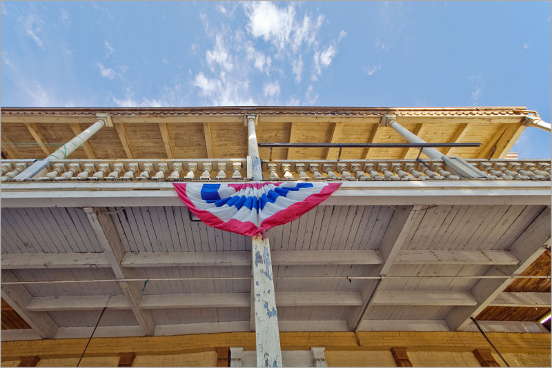 red white and blue bunting in Old Sacramento