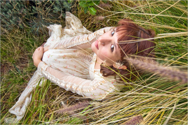 Gunne Sax dress study in wild grasses