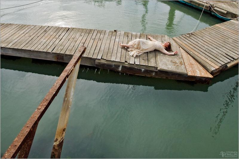 girl on a dock in gunne sax dress