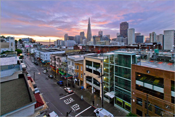 a Rainy sunrise in North Beach San Francisco