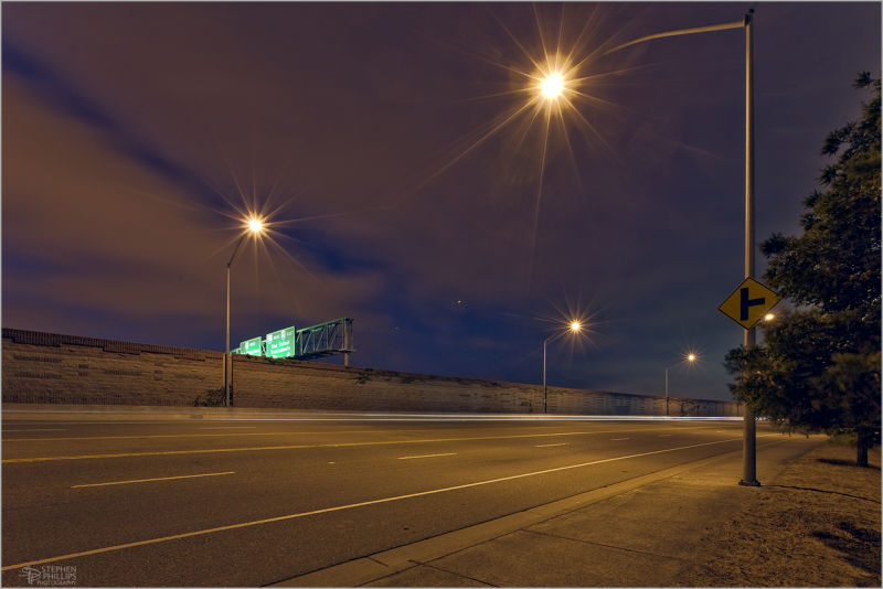 night freeway Oakland California