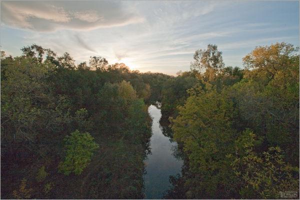 Putah Creek sunset in Solano County California