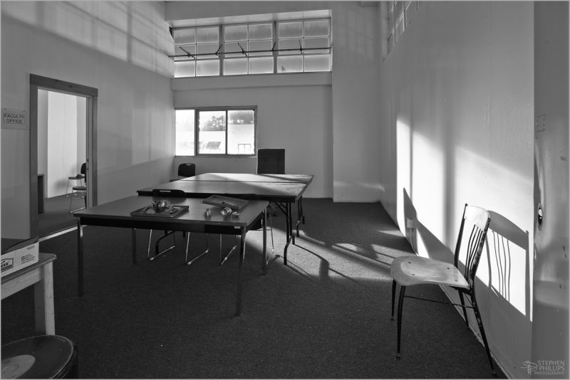 vacant office and dusty table tops