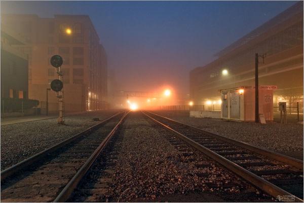 Night train through Oakland Jack London Square